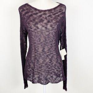 Sheer Sweater Topper NWT Lilla P Purple Knit S